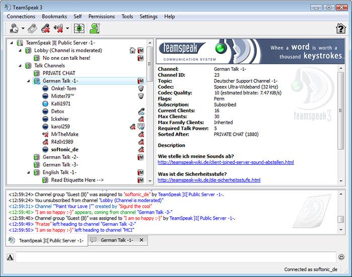 TeamSpeak Ekran Görüntüsü
