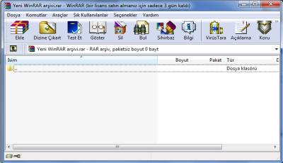 WinRAR Ekran Görüntüsü